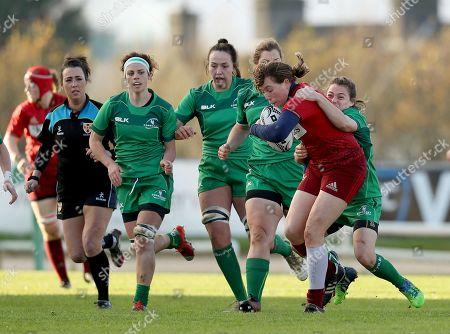 Connacht Women vs Munster Women. Munster?s Rachel Allen is tackled by Shannen Lane of Connacht