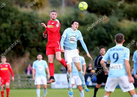 Warrenpoint Town vs Cliftonville. Warrenpoint's Danny Wallace and Cliftonville's Rory Donnelly