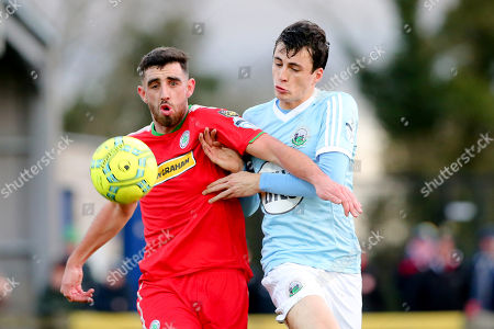 Warrenpoint Town vs Cliftonville. Warrenpoint's Danny Wallace and Cliftonville's Joe Gormley