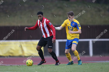 Theo Fairweather-Johnson of Hornchurch holds off Tyler French of Sudbury during AFC Hornchurch vs AFC Sudbury, Bostik League Division 1 North Football at Hornchurch Stadium on 2nd December 2017