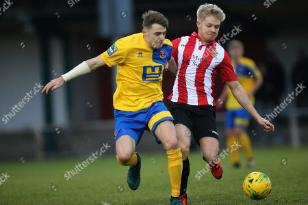 Stock Picture of Tyler French of Sudbury and Alex Bentley of Hornchurch during AFC Hornchurch vs AFC Sudbury, Bostik League Division 1 North Football at Hornchurch Stadium on 2nd December 2017