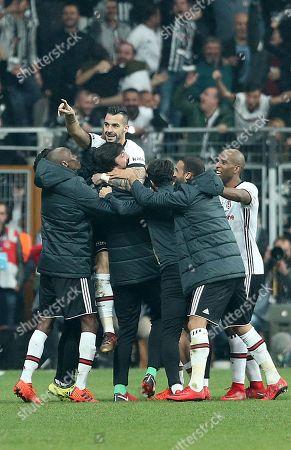 Besiktas's Alvaro Negredo celebrate his goal with teammates during the Turkish Super League match between Besiktas and Galatasaray in Istanbul, Turkey, 02 December 2017.