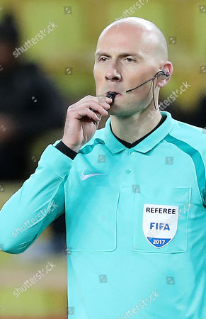 Stock Picture of French referee Antony Gautier reacts during the French Ligue 1 soccer match, AS Monaco vs Angers SCO, at Stade Louis II, in Monaco, 02 December 2017.