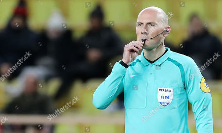 French referee Antony Gautier reacts during the French Ligue 1 soccer match, AS Monaco vs Angers SCO, at Stade Louis II, in Monaco, 02 December 2017.