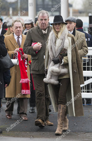 Jeremy Clarkson and Lisa Hogan arrives at the race course.