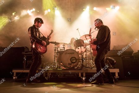 (L-R) Peter Hayes, Leah Shapiro and Robert Levon Been of US rock band Black Rebel Motorcycle Club perform during a live concert at the Samsung Hall in Zurich, Switzerland, 02 December 2017.