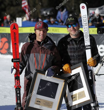 US skiers Daron Rahlves (L) and Bode Miller (R) are honored in the finish area before the Downhill at the Birds of Prey World Cup Alpine Ski race in Beaver Creek, Colorado, USA, 02 December 2017.