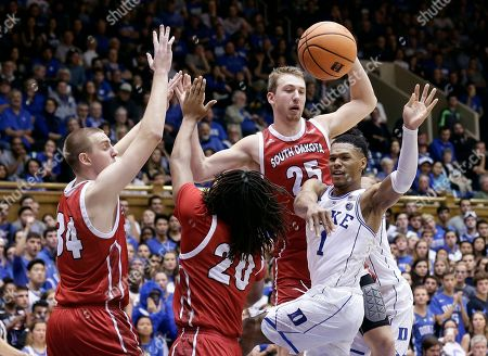 Trevon Duval, Nick Fuller, Tyler Hagedorn, Brandon Armstrong. Duke's Trevon Duval (1) passes as South Dakota's Nick Fuller (34), Brandon Armstrong (20) and Tyler Hagedorn (25) defend during the second half of an NCAA college basketball game in Durham, N.C