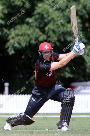 Michael Pollard of Canterbury bats during the Ford One Day trophy cricket match between Canterbury and Otago Volts at MainPower Oval, Rangiora, Canterbury, New Zealand, Sunday, Dec. 3, 2017. (Sanka Gayashan/REX/Shutterstock)