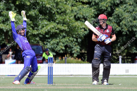 Stock Image of Derek de Boorder, wicketkeeper of Otago Volts unsuccessfully appeals against Michael Pollard of Canterbury during the Ford One Day trophy cricket match between Canterbury and Otago Volts at MainPower Oval, Rangiora, Canterbury, New Zealand, Sunday, Dec. 3, 2017. (Sanka Gayashan/REX/Shutterstock)