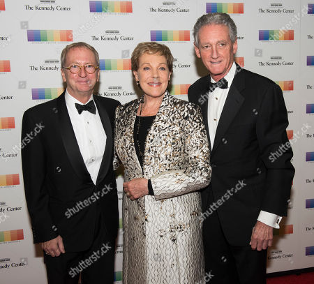 David Bohnett, Julie Andrews, Stephen Sauer. From left, Kennedy Center Trustee David Bohnett, 2001 Kennedy Center Honoree Julie Andrews and Stephen Sauer arrive at the State Department for the Kennedy Center Honors gala dinner, in Washington