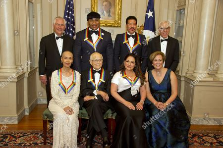 Stock Image of (L-R, back) US Secretary of State Rex Tillerson, LL Cool J, Lionel Richie, and David M. Rubenstein, Chairman of John F. Kennedy Center for the Performing Arts, (L-R, front) Carmen de Lavallade, Norman Lear, Gloria Estefan and Deborah F. Rutter, President of the John F. Kennedy Center for the Performing Arts, pose for a photo following a dinner hosted by United States Secretary of State Rex Tillerson in their honor at the US Department of State in Washington, DC, USA, 02 December 2017. The 2017 honorees are: US dancer and choreographer Carmen de Lavallade, Cuban-US singer-songwriter and actress Gloria Estefan, US hip hop artist and entertainment icon LL COOL J, US television writer and producer Norman Lear and US musician and record producer Lionel Richie.