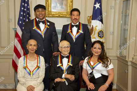 (L-R, back) LL Cool J and Lionel Richie, (L-R, front) Carmen de Lavallade, Norman Lear and Gloria Estefan pose for a photo following a dinner hosted by United States Secretary of State Rex Tillerson in their honor at the US Department of State in Washington, DC, USA, 02 December 2017. The 2017 honorees are: US dancer and choreographer Carmen de Lavallade, Cuban-US singer-songwriter and actress Gloria Estefan, US hip hop artist and entertainment icon LL COOL J, US television writer and producer Norman Lear and US musician and record producer Lionel Richie.
