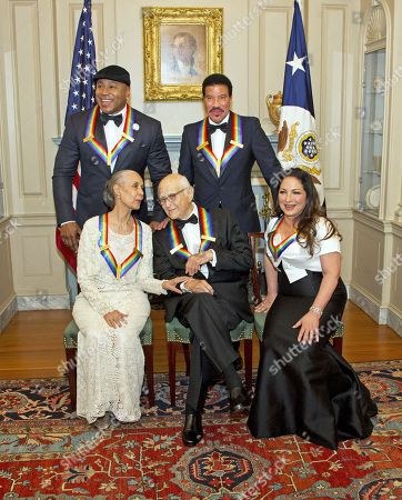(L-R, back) LL Cool J and Lionel Richie, (L-R, front) Carmen de Lavallade, Norman Lear and Gloria Estefan pose for a group photo following a dinner hosted by United States Secretary of State Rex Tillerson in their honor at the US Department of State in Washington, DC, USA, 02 December 2017. The 2017 honorees are: US dancer and choreographer Carmen de Lavallade, Cuban-US singer-songwriter and actress Gloria Estefan, US hip hop artist and entertainment icon LL COOL J, US television writer and producer Norman Lear and US musician and record producer Lionel Richie.