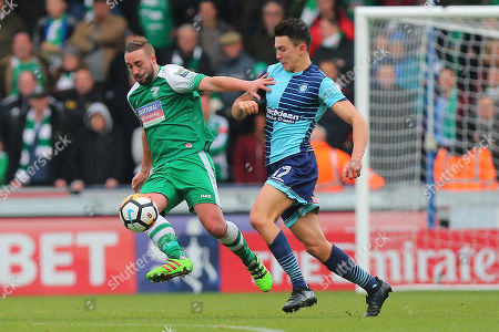 Sammy Moore of Leatherhead and Luke O'Nien of Wycombe Wanderers during Wycombe Wanderers vs Leatherhead, Emirates FA Cup Football at Adams Park on 3rd December 2017