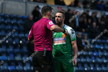 Sammy Moore of Leatherhead is shown a second yellow card and sent off during Wycombe Wanderers vs Leatherhead, Emirates FA Cup Football at Adams Park on 3rd December 2017