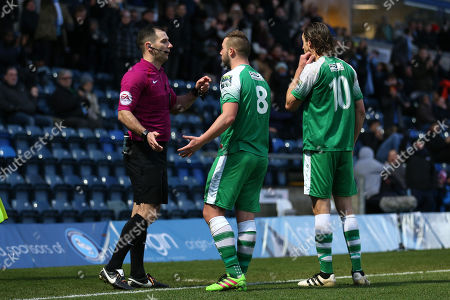 Stock Picture of Sammy Moore of Leatherhead is shown a second yellow card and sent off during Wycombe Wanderers vs Leatherhead, Emirates FA Cup Football at Adams Park on 3rd December 2017
