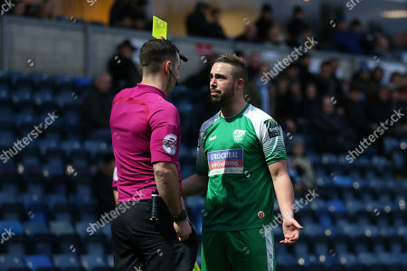 Stock Image of Sammy Moore of Leatherhead is shown a second yellow card and sent off during Wycombe Wanderers vs Leatherhead, Emirates FA Cup Football at Adams Park on 3rd December 2017