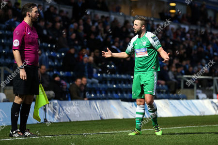 Stock Photo of Sammy Moore of Leatherhead reacts after being shown a second yellow card and sent off during Wycombe Wanderers vs Leatherhead, Emirates FA Cup Football at Adams Park on 3rd December 2017