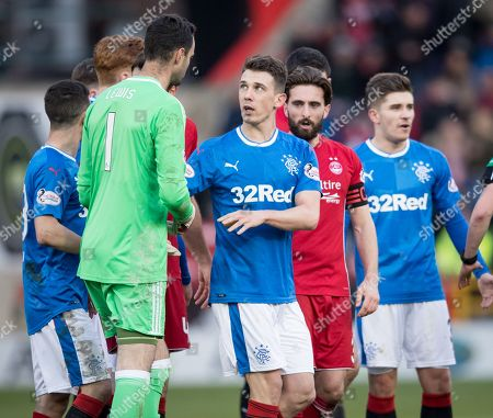 Aberdeen goalkeeper Joe Lewis has words with Ryan Jack of Rangers after Jack was shown a red card for a challenge on Stevie May of Aberdeen