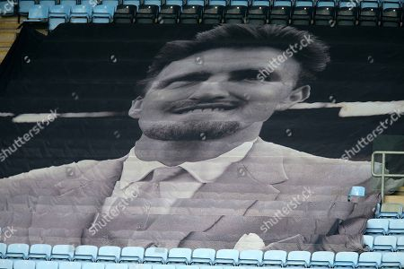 A flag showing an image of the late Jimmy Hill adorns the seats during Coventry City vs Boreham Wood, Emirates FA Cup Football at the Ricoh Arena on 3rd December 2017