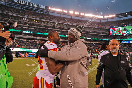 Darrelle Revis, Todd Bowles. Kansas City Chiefs' Darrelle Revis, left, greets New York Jets head coach Todd Bowles after an NFL football game, in East Rutherford, N.J. The Jets beat the Chiefs 38-31