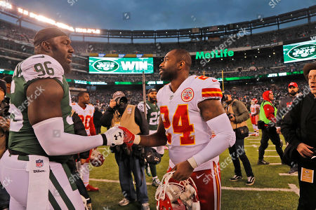 Darrelle Revis, Muhammad Wilkerson. Kansas City Chiefs' Darrelle Revis, right, greets New York Jets' Muhammad Wilkerson after an NFL football game, in East Rutherford, N.J. The Jets beat the Chiefs 38-31