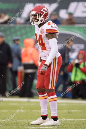 , 2017, Kansas City Chiefs cornerback Darrelle Revis (24) looks on during the NFL game between the Kansas City Chiefs and the New York Jets at MetLife Stadium in East Rutherford, New Jersey. The New York Jets won 38-31