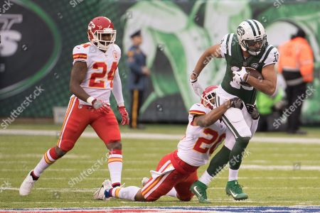 , 2017, New York Jets wide receiver Jermaine Kearse (10) runs after the catch as Kansas City Chiefs cornerback Steven Nelson (20) tries to drag him down with cornerback Darrelle Revis (24) behind him during the NFL game between the Kansas City Chiefs and the New York Jets at MetLife Stadium in East Rutherford, New Jersey