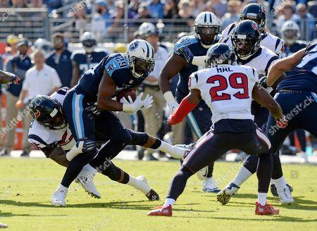 DeMarco Murray, Benardrick McKinney. Tennessee Titans running back DeMarco Murray (29) is stopped by Houston Texans inside linebacker Benardrick McKinney, left, in the first half of an NFL football game, in Nashville, Tenn
