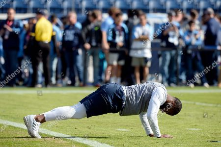 Tennessee Titans running back DeMarco Murray warms up before an NFL football game against the Houston Texans, in Nashville, Tenn