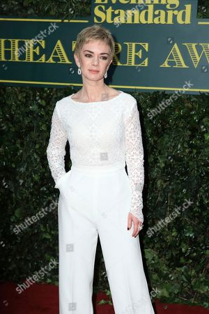 Actress Victoria Hamilton poses for photographers on arrival at the Evening Standard Theatre Award in London