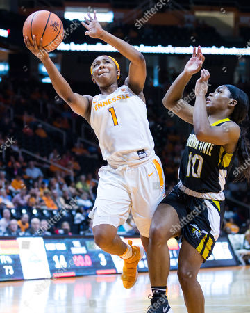 Anastasia Hayes #1 of the Tennessee Lady Volunteers shoots the ball over Courtney Lee #10 of the Alabama State Lady Hornets during the NCAA basketball game between the University of Tennessee Lady Volunteers and the Alabama State University Lady Hornets at Thompson Boling Arena in Knoxville TN Tim Gangloff/CSM