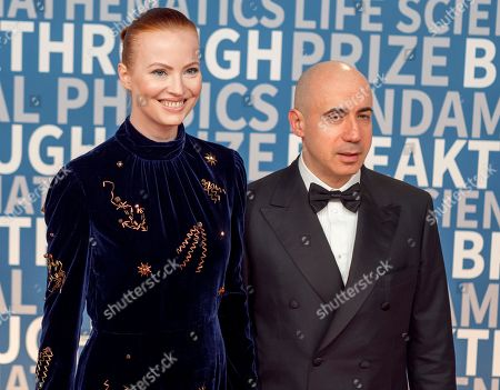 Julia Milner, Yuri Milner. Julia and Yuri Milner arrive at the 6th annual Breakthrough Prize Ceremony at the NASA Ames Research Center on in Mountain View, California
