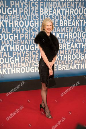 Dr. Jennifer Doudna, CRISPR pioneer, arrives at the 6th annual Breakthrough Prize Ceremony at the NASA Ames Research Center on in Mountain View, California