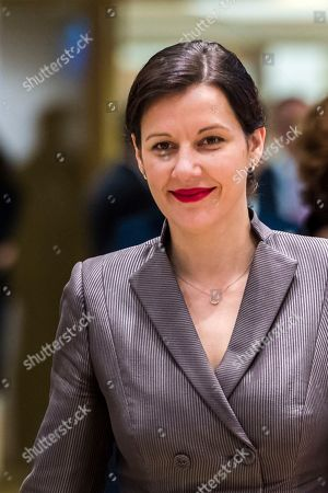 Latvia's Finance Minister Dana Reizniece-Ozola arrives for a meeting of eurozone finance ministers at the Europa building in Brussels on . Eurozone finance ministers meet Monday to elect a new president for the club of 19 nations that share the euro currency