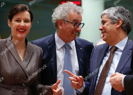 Latvian Finance Minister Dana Reizniece-Ozola, Luxembourg's Finance Minister Pierre Gramegna (L) and newly elected President of the Eurogroup Portuguese Finance Minister Mario Centeno (R) during the Eurogroup meeting in Brussels, Belgium, 04 December 2017.  New president of Eurogroup, Portuguese Finance Minister Mario Centeno replaces the outgoing President of the Eurogroup, former Dutch Finance Minister Jeroen Dijsselbloem.