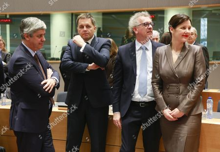 Candidates for the Presidency of the Eurogroup with (L-R) Portuguese Finance Minister Mario Centeno, Slovak Finance Minister Peter Kazimir, Luxembourg's Finance Minister Pierre Gramegna and Latvian Finance Minister  Dana Reizniece-Ozol wait for the start of an Eurogroup meeting in Brussels, Belgium, 04 December 2017. During the Eurogroup meeting outgoing Eurogroup President, former Dutch Finance Minister Jeroen Dijsselbloem's successor is expected to be elected.