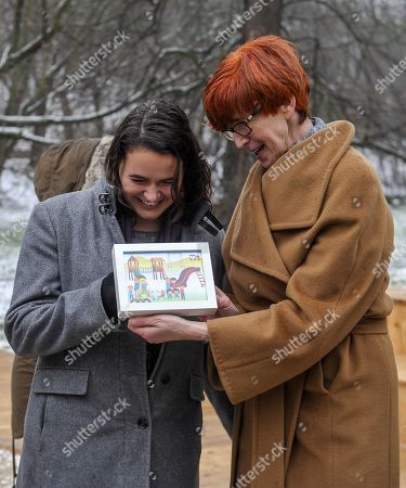 Polish Minister of Family, Labour and Social Policy Elzbieta Rafalska (R) and Minister of State for Family and Youth Affairs at the Ministry of Human Capacities of Hungary Katalin Novak (L) during the opening of the 'Saint Wladyslaw's Playground' in Lazienki Park in Warsaw, Poland, 04 December 2017. It was designed and created to celebrate the Hungarian Culture Year in Poland and it was financed by the Embassy of Hungary The children will find here information about the Polish-Hungarian history and cooperation of both countries.