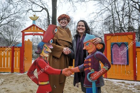 Polish Minister of Family, Labour and Social Policy Elzbieta Rafalska (L) and Minister of State for Family and Youth Affairs at the Ministry of Human Capacities of Hungary Katalin Novak (R) during the opening of the 'Saint Wladyslaw's Playground' in Lazienki Park in Warsaw, Poland, 04 December 2017. It was designed and created to celebrate the Hungarian Culture Year in Poland and it was financed by the Embassy of Hungary. The children will find here information about the Polish-Hungarian history and cooperation of both countries.