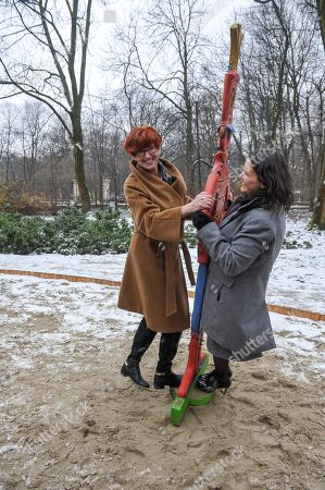 Polish Minister of Family, Labour and Social Policy Elzbieta Rafalska (L) and Minister of State for Family and Youth Affairs at the Ministry of Human Capacities of Hungary Katalin Novak (R) during the opening of the 'Saint Wladyslaw's Playground' in Lazienki Park in Warsaw, Poland, 04 December 2017. It was designed and created to celebrate the Hungarian Culture Year in Poland and it was financed by the Embassy of Hungary. Children will find here information about the Polish-Hungarian history and cooperation of both countries.