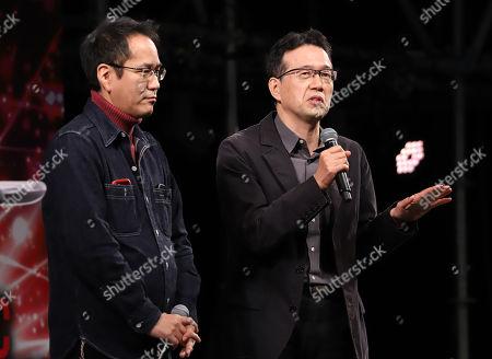 Japanese animation directors Kenji Kamiyama (L) and Aramaki Shinji (R) speak at the Tokyo Comic Con 2017 in Chiba