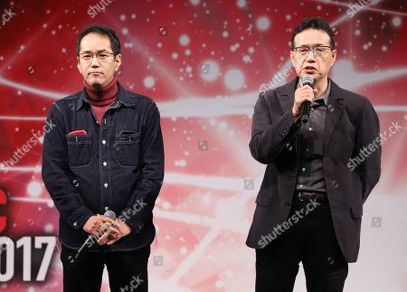 Stock Picture of Japanese animation directors Kenji Kamiyama (L) and Aramaki Shinji (R) speak at the Tokyo Comic Con 2017 in Chiba