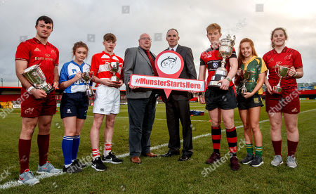 Evan Murphy, Munster U18 Clubs, Ciara Sheehan, Tralee RFC U15 Girls, Matthew Sheehan, Skibbereen RFC U16 Cup, Dave Fitzgibbon, Chairman Munster Youth Committee, John McAllen, Bank of Ireland, Ross Flaherty, Ennis RFC U18 Cup, Muirne Wall, Listowel RFC U18 Girls and Enya Breen, Munster U18 Girls