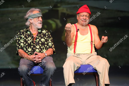 The Comedy Duo Consisting of Richard 'Cheech' Marin and Tommy Chong Cheech & Chong Are Shown On Stage During a 'Live' Concert Performance at the Mohegan Sun Arena in Uncasville Connecticut On Friday January 2 2009