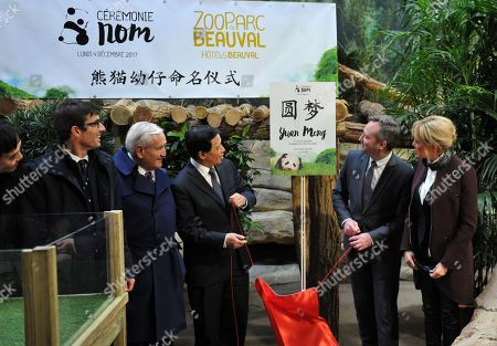 "Director of the zoo Rodolphe Delord, former senator Jean-Pierre Raffarin, China's Vice Foreign Minister Zhang Yesui, French Junior Minister for Foreign Affairs Jean-Baptiste Lemoyne and French President wife's Brigitte Trogneux are pictured as they inaugurate the name of the panda cub ""Yuan Meng""."