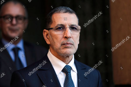 Morocco's Prime Minister Saad-Eddine El Othmani waits to receive his Portuguese counterpart Antonio Costa during an official visit to Rabat, Morocco