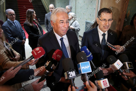 Portuguese prime minister Antonio Costa, centre, speaks to journalists after holding a meeting with his Moroccan counterpart Saad-Eddine El Othmani, in Rabat, Morocco