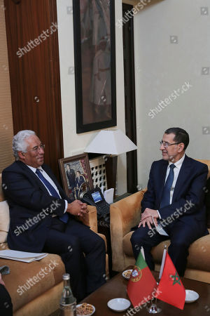 Morocco's Prime Minister Saad-Eddine El Othmani, right, talks with his Portuguese counterpart Antonio Costa, left, during an official visit to Rabat, Morocco