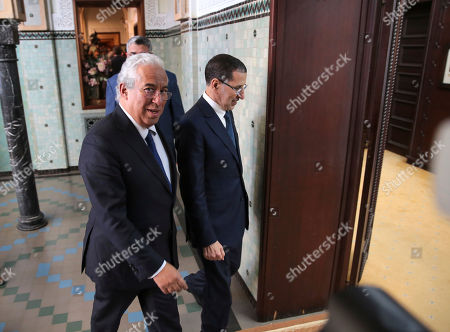 Morocco's Prime Minister Saad-Eddine El Othmani, right, welcomes his Portuguese counterpart Antonio Costa, left, during an official visit to Rabat, Morocco